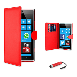 Nokia Lumia 620 Stylish PU leather wallet case - Red Mobile phones