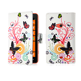 Nokia Lumia 620 PU leather design book case - Colour Butterfly Mobile phones