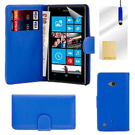 Nokia Lumia 720 Stylish PU leather wallet case - Deep Blue Mobile phones