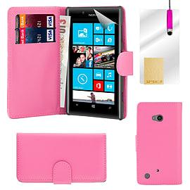 Nokia Lumia 720 Stylish PU leather wallet case - Hot Pink Mobile phones