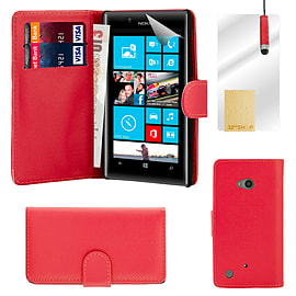 Nokia Lumia 720 Stylish PU leather wallet case - Red Mobile phones