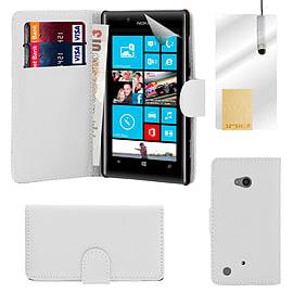 Nokia Lumia 720 Stylish PU leather wallet case - White Mobile phones