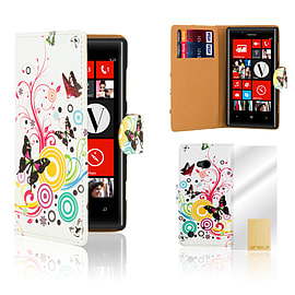 Nokia Lumia 720 PU leather design book case - Colour Butterfly Mobile phones