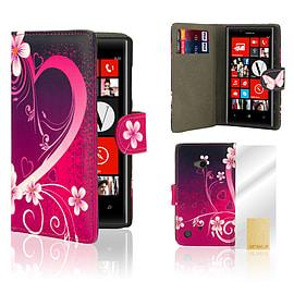 Nokia Lumia 720 PU leather design book case - Love Heart Mobile phones