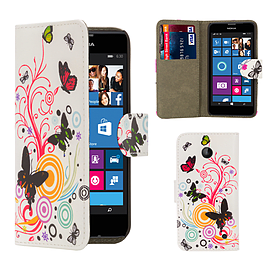 Nokia Lumia 730 PU leather design book case - Colour Butterfly Mobile phones