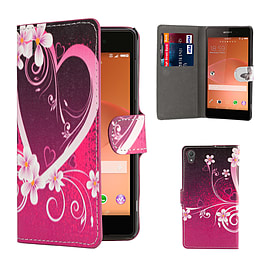 Sony Xperia Z2 PU leather design book case - Love Heart Mobile phones
