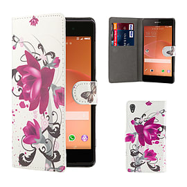Sony Xperia Z2 PU leather design book case - Purple Rose Mobile phones