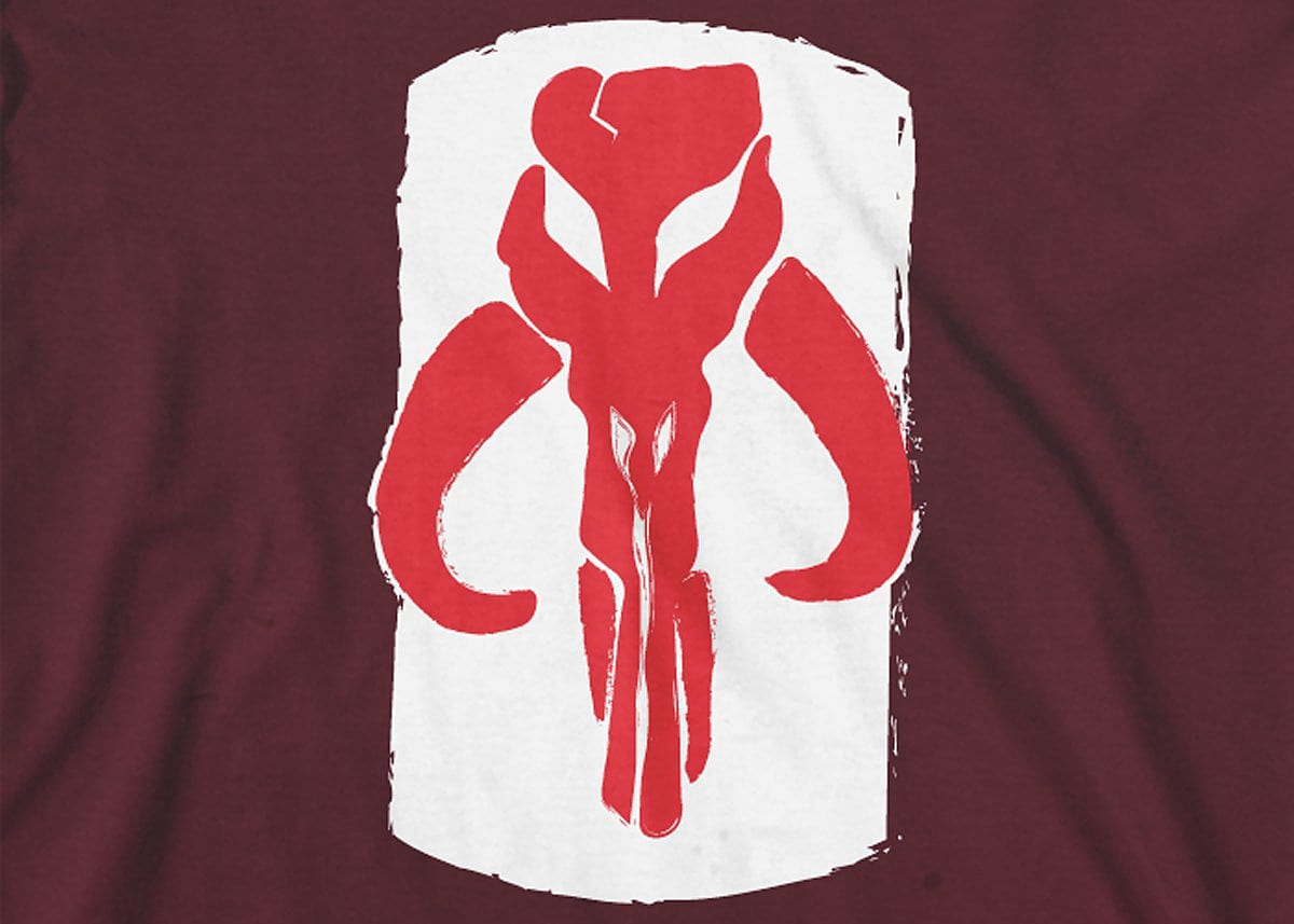 Star Wars: Mandalorian Skull Mens T-Shirt Small Maroon screen shot 1