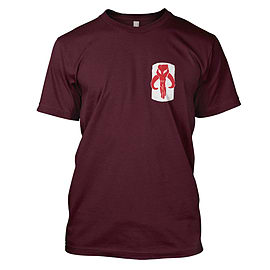 Star Wars: Mandalorian Skull Mens T-Shirt 2Xl Maroon Clothing
