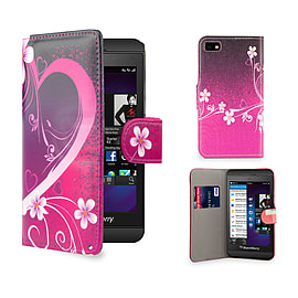 Blackberry Z10 PU leather design book case - Love Heart Mobile phones