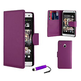 HTC One M4 Stylish PU leather wallet case - Purple Mobile phones