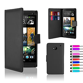 HTC One M7 Stylish PU leather wallet case - Black Mobile phones
