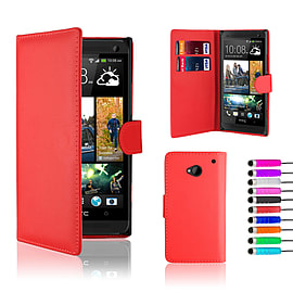 HTC One M7 Stylish PU leather wallet case - Red Mobile phones