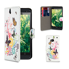HTC One M7 PU leather design book case - Colour Butterfly Mobile phones