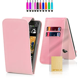 HTC One M7 Stylish PU leather flip case - Baby Pink Mobile phones