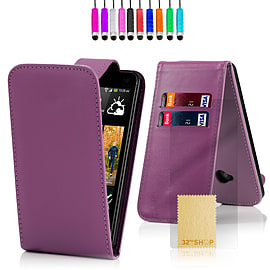 HTC One M7 Stylish PU leather flip case - Purple Mobile phones