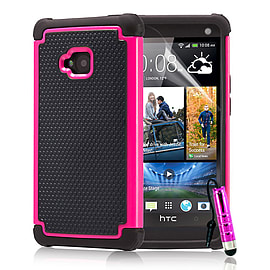 HTC One M7 Dual-layer shockproof case - Hot Pink Mobile phones