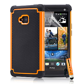 HTC One M7 Dual-layer shockproof case - Orange Mobile phones