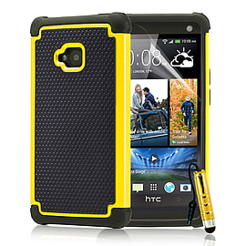 HTC One M7 Dual-layer shockproof case - Yellow Mobile phones