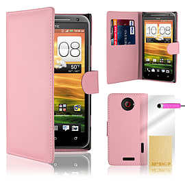 HTC One X Stylish PU leather wallet case - Baby Pink Mobile phones