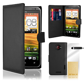 HTC One X Stylish PU leather wallet case - Black Mobile phones