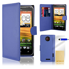 HTC One X Stylish PU leather wallet case - Blue Mobile phones