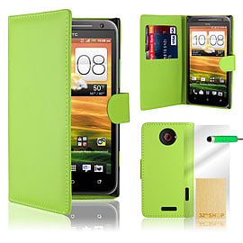 HTC One X Stylish PU leather wallet case - Green Mobile phones