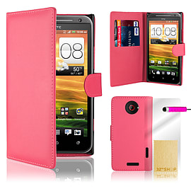 HTC One X Stylish PU leather wallet case - Hot Pink Mobile phones