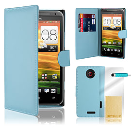 HTC One X Stylish PU leather wallet case - Light Blue Mobile phones