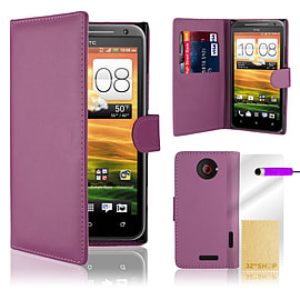 HTC One X Stylish PU leather wallet case - Purple Mobile phones
