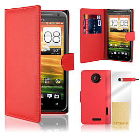 HTC One X Stylish PU leather wallet case - Red Mobile phones