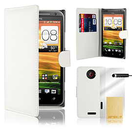 HTC One X Stylish PU leather wallet case - White Mobile phones