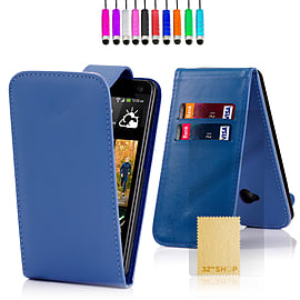 HTC One X Stylish PU leather flip case - Blue Mobile phones