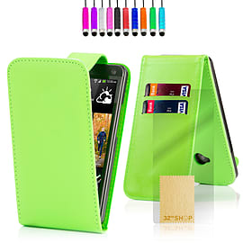 HTC One X Stylish PU leather flip case - Green Mobile phones