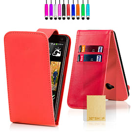 HTC One X Stylish PU leather flip case - Red Mobile phones
