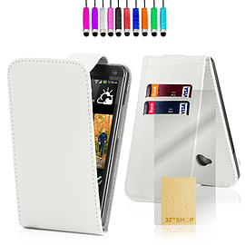 HTC One X Stylish PU leather flip case - White Mobile phones