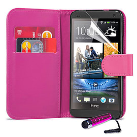 HTC Desire C Stylish PU leather wallet case - Hot Pink Mobile phones