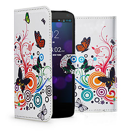HTC Desire C PU leather design book case - Colour Butterfly Mobile phones