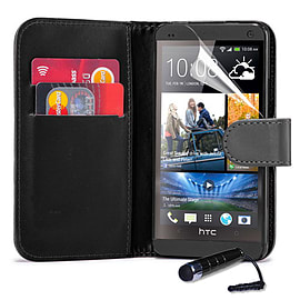 HTC One Max T6 Stylish PU leather wallet case - Black Mobile phones