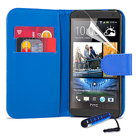 HTC One Max T6 Stylish PU leather wallet case - Deep Blue Mobile phones