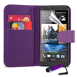 HTC One Max T6 Stylish PU leather wallet case - Purple Mobile phones