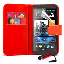HTC One Max T6 Stylish PU leather wallet case - Red Mobile phones