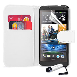 HTC One Max T6 Stylish PU leather wallet case - White Mobile phones
