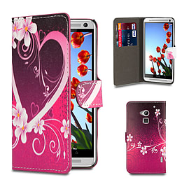 HTC One Max T6 PU leather design book case - Love Heart Mobile phones