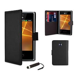 LG L3ii Optimus Stylish PU Leather waller case - Black Mobile phones
