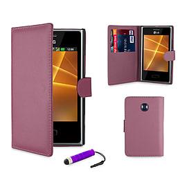 LG L3ii Optimus Stylish PU Leather waller case - Purple Mobile phones