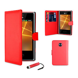 LG L3ii Optimus Stylish PU Leather waller case - Red Mobile phones