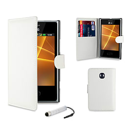 LG L3ii Optimus Stylish PU Leather waller case - White Mobile phones