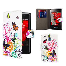 LG L3ii Optimus PU Leather design book case - Colour Butterfly Mobile phones