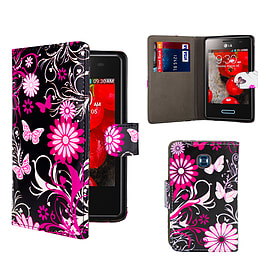 LG L3ii Optimus PU Leather design book case - Gerbera Mobile phones